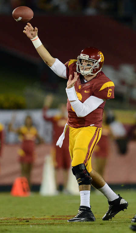 . \\USC quarterback Cody Kessler #6 passes the ball during their game against Arizona at the Los Angeles Memorial Coliseum Thursday, October 10, 2013. (Photo by Hans Gutknecht/Los Angeles Daily News)