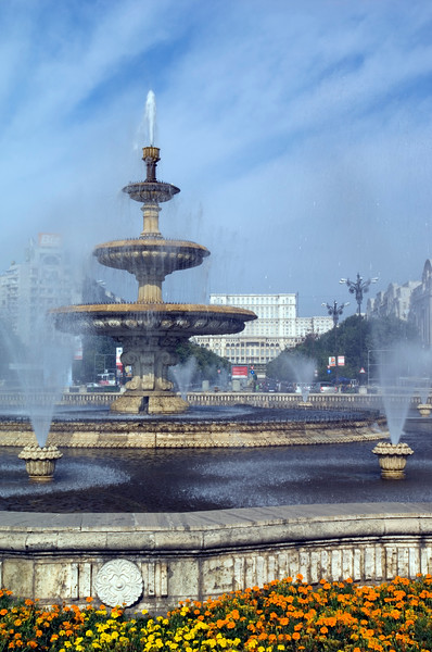 Fountains on Piata Unirii, Bucharest, Wallachia, Romania