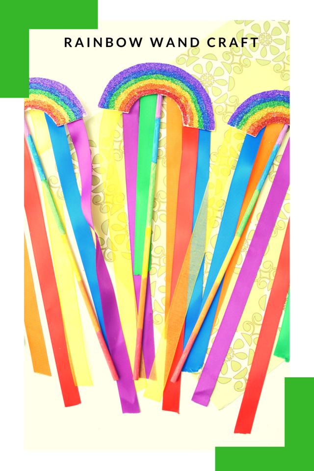 This rainbow wand craft is delightful! It's perfect for St. Patrick's Day, PRIDE, birthday parties, party favors, and just plain whimsical play right at home. See how easy it is to make!