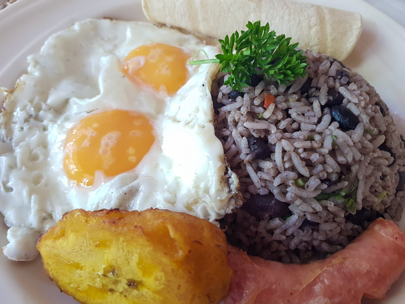 Traditional Costa Rica Breakfast with Gallo Pinto and Eggs