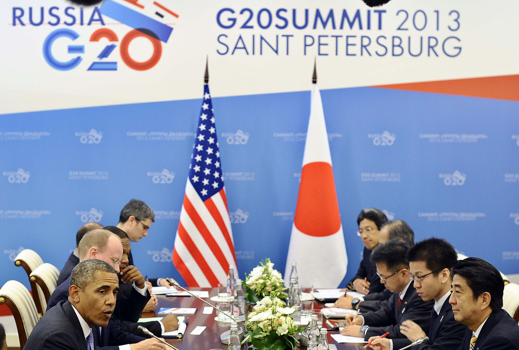 . US President Barack Obama (L) speaks during a bilateral meeting with Japans Prime Minister Shinzo Abe on the sideline of the G20 summit in Saint Petersburg on September 5, 2013.  AFP Photo/Jewel SAMAD/AFP/Getty Images