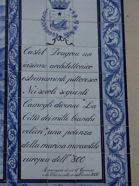 Camogli, writings in front of the church