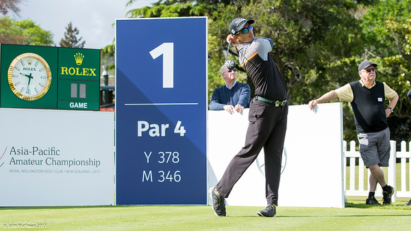 Kshitij Naveed Kaul  from India teeing off on Practice Day 1 of the Asia-Pacific Amateur Championship tournament 2017 held at Royal Wellington Golf Club, in Heretaunga, Upper Hutt, New Zealand from 26 - 29 October 2017. Copyright John Mathews 2017.   www.megasportmedia.co.nz
