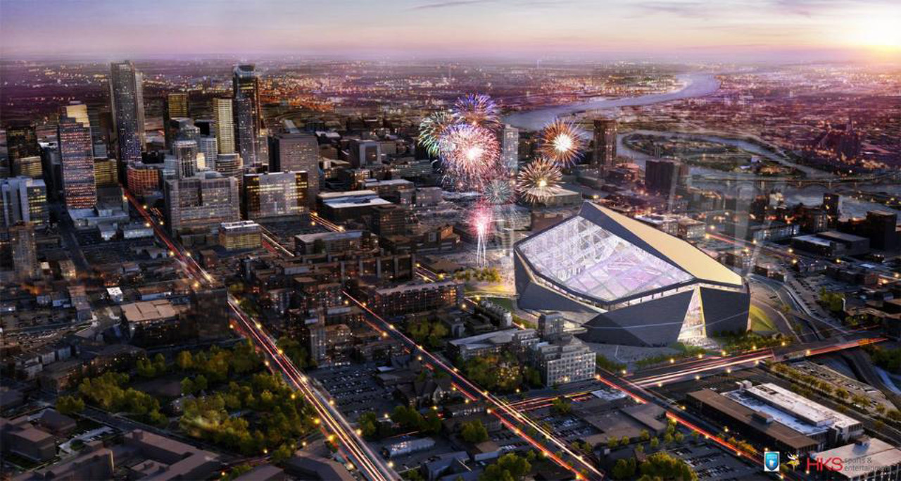 . A rendering of the exterior of the new Vikings stadium, released on Monday May 13, 2013. (Courtesy Minnesota Vikings)