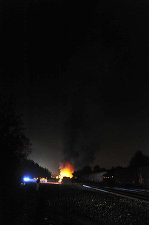 Railroad ties on fire in Hazle Twp. 9-20-11