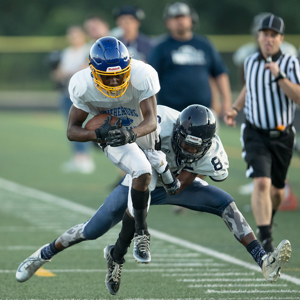 August 29, 2019 - Attacking defenses from Magruder and Gaithersburg controlled most of the pre-season scrimmage. Photo by Mike Clark/The Montgomery Sentinel