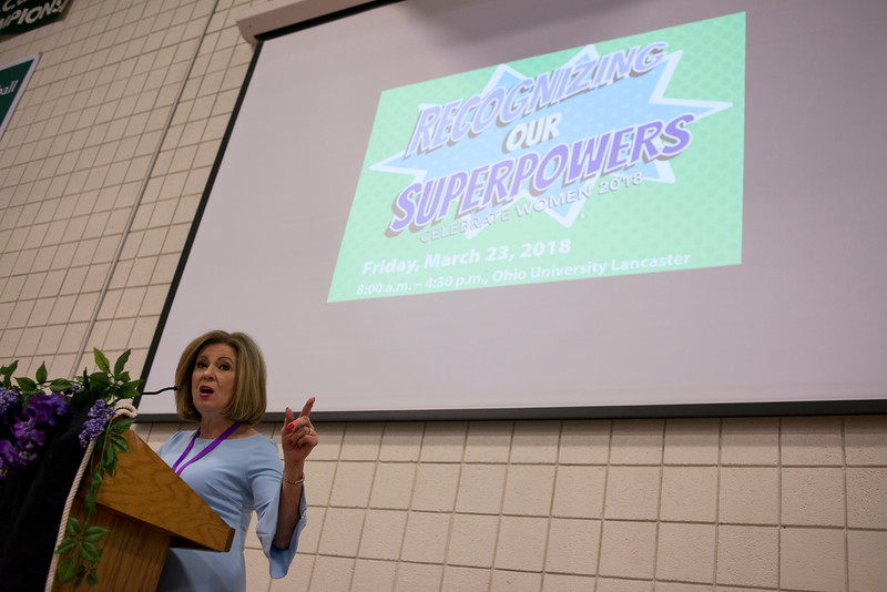 """LANCASTER, OHIO   MARCH 23, 2018: Columbus NBC4 News Anchor and Attorney, Colleen Marshall, addresses the crowd during her talk titled """"Standing Up for Your Story"""" during the luncheon and awards ceremony during the Celebrate Women Conference 2018, themed """"Recognizing Our Superpowers"""" on March 23, 2018 at Ohio University Lancaster in Lancaster, Ohio.  Ty Wright photo"""