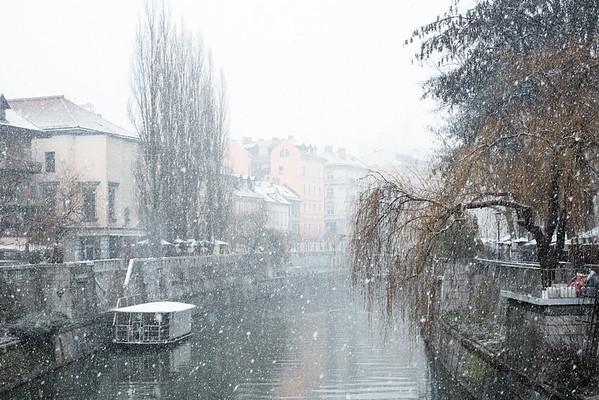 First snow in Ljubljana