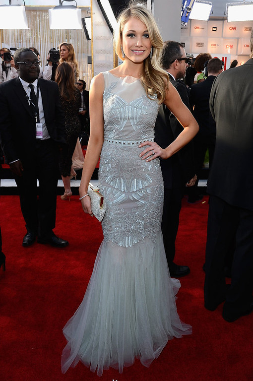 . Actress Katrina Bowden arrives at the 19th Annual Screen Actors Guild Awards held at The Shrine Auditorium on January 27, 2013 in Los Angeles, California.  (Photo by Kevork Djansezian/Getty Images)