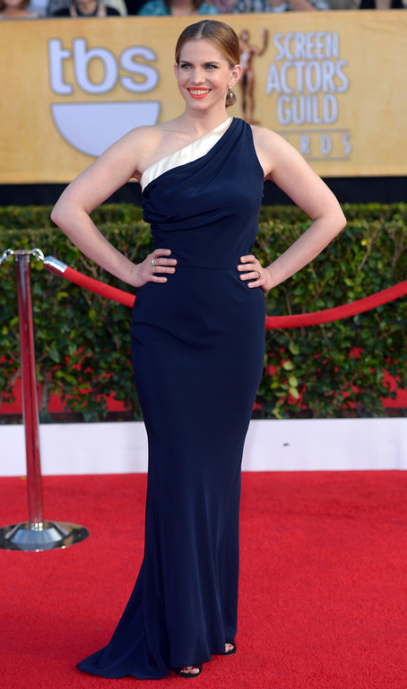 . Anna Chlumsky arrives at the 20th Annual Screen Actors Guild Awards  at the Shrine Auditorium in Los Angeles, California on Saturday January 18, 2014 (Photo by Michael Owen Baker / Los Angeles Daily News)