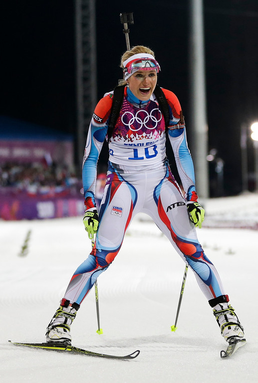 . Czech Republic\'s Gabriela Soukalova comes to halt in the finish after winning the silver medal in the women\'s biathlon 12.5k mass-start, at the 2014 Winter Olympics, Monday, Feb. 17, 2014, in Krasnaya Polyana, Russia. (AP Photo/Felipe Dana)
