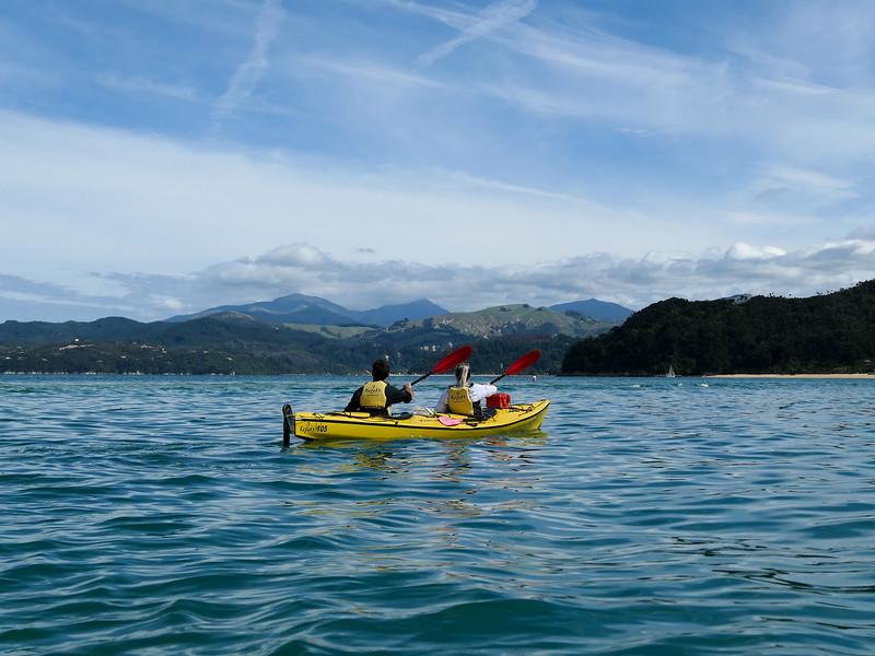 Tandem kayaking in Abel Tasman National Park