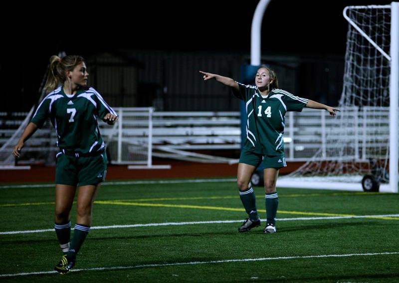 "Maddie Jones, Katrina ""Kat"" Neir  Woodinville High Girls Varsity Soccer verse Skyline High October 20, 2011, ©Neir"