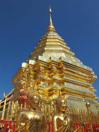 he octagonal Chedi at Wat Prathat Doi Suthep, Chiang Mai, Thailand.   The octagonal chedi is 16 meters tall and covers the hole where the relic was buried.  Lanna Temples originally were built round chedi (stupas) which contain valuable relics of pious kings and monks.  Like solid rocks in a sea of change, the old chedis mark the sites of former temples and are almost the only temples structures that go back to the 13th-15th centuries.  http://blog.tourismthailand.org/EugeneTang/?p=998