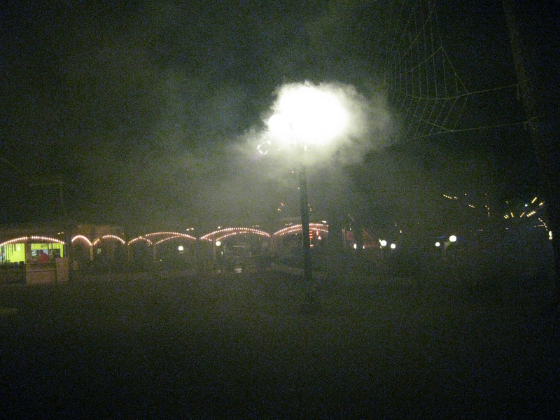 There were fog machines set up in the park.