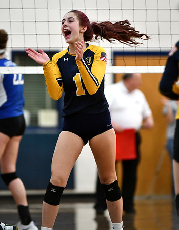 11/16/2019 Mike Orazzi | StaffrWoodstock Academy's Sierra Bedard (1) during the 2019 State Girls Volleyball Tournament Class L Quarterfinals at BEHS in Bristol Saturday.