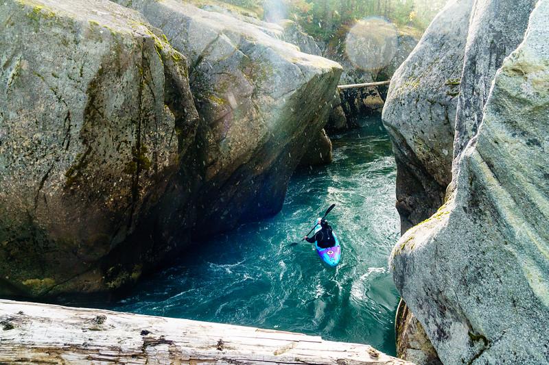 Dan Warner paddles through a beautiful canyon on the Cheakamus River near Whistler, British Columbia.