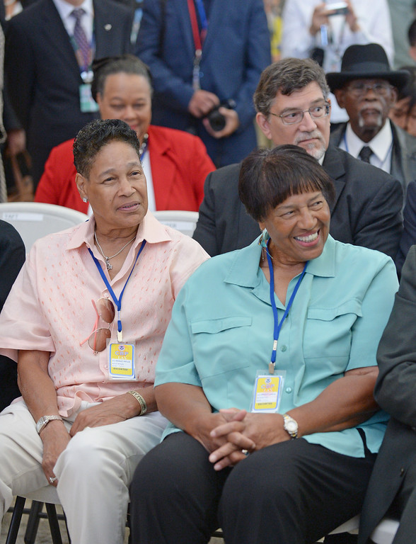 . Phyllis Bradley, left, and sister Lorraine Bradley enjoyed the ceremony for the new terminal named for their father, former Mayor Tom Bradley.  At LAX, dignitaries gathered to open the new Tom Bradley International Terminal. (Wed. Sept 18, 2013 Photo by Brad Graverson/The Daily Breeze