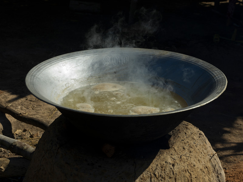 Palm sugar being cooked in pan, Siem Reap, Cambodia
