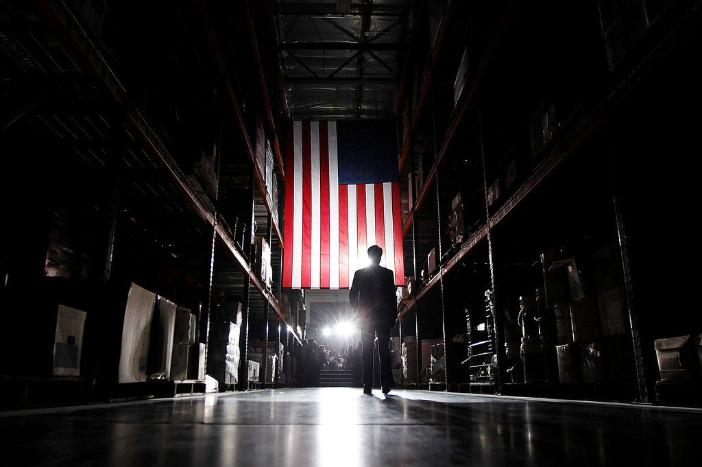 . Republican presidential candidate, former Massachusetts Gov. Mitt Romney, walks away from the stage after a campaign rally in Las Vegas, Wednesday, Feb. 1, 2012. (AP Photo/Gerald Herbert)