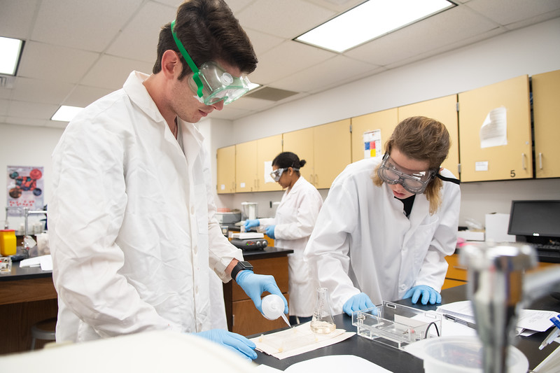 Cameron Stone (left) and Kayla Main Skinner prep their tray to apply an agarose solution in preparation of a DNA visual in Biochemistry Lab.