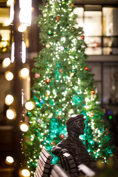 Bronze Bob statue and Christmas tree
