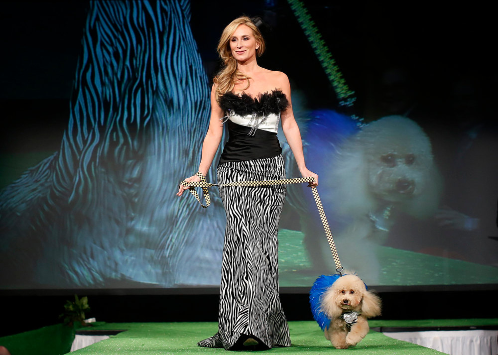 Description of . Sonja Morgan, from the Real Housewives of New York City, walks Marley,a Poodle breed,down the runway during the New Yorkie Runway Doggie Fashion Show in New York February 7, 2013. REUTERS/Shannon Stapleton