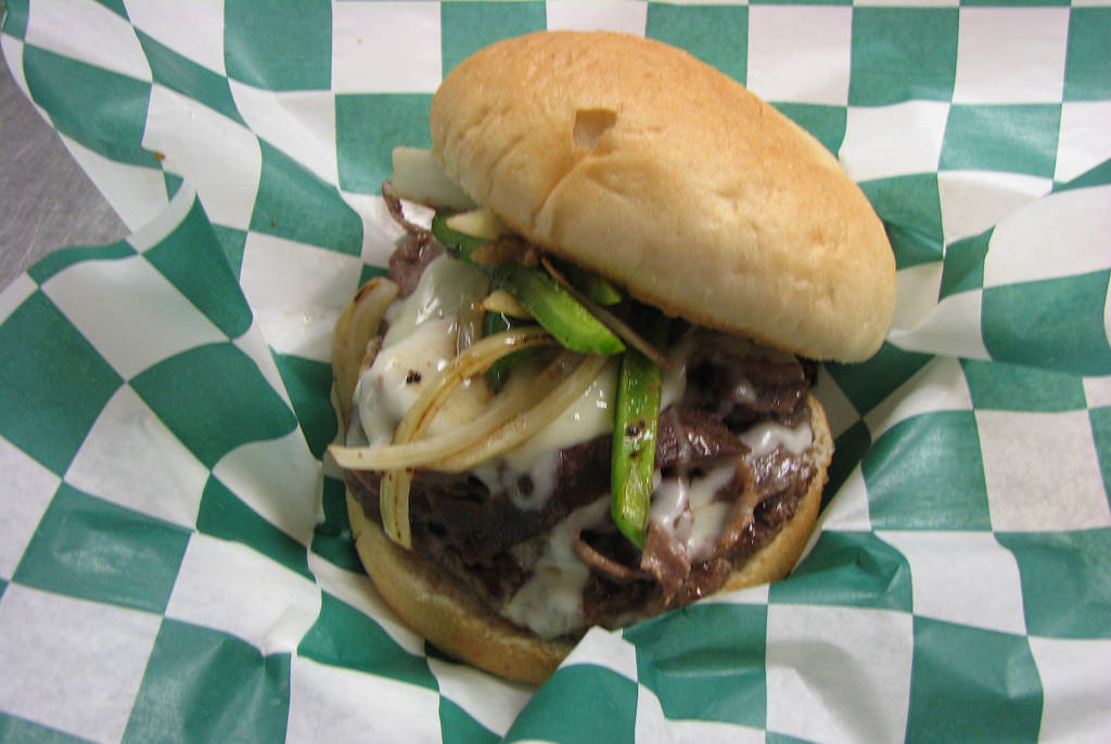 . Big Andy -- ¼-pound hamburger topped with Philly steak, sautéed onions, red & green peppers and melted American-Swiss cheese. Available at Andy\'s Grille, located on Carnes Ave., near Chambers St. Photo courtesy of the Minnesota State Fair.