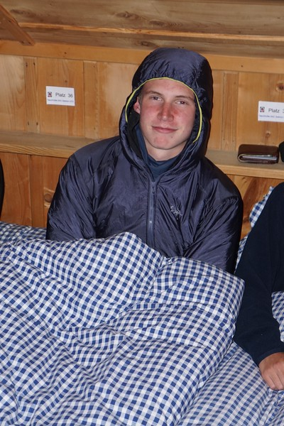 Will in the Tasch Hut trying to stay warm