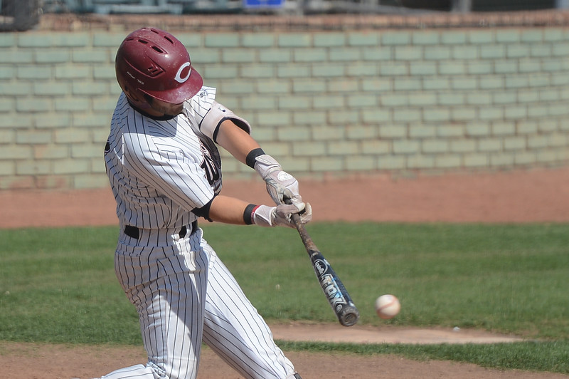 Chico State's Cameron Santos hits the ball, May 4, 2018,  in Chico, California. (Carin Dorghalli -- Enterprise-Record)