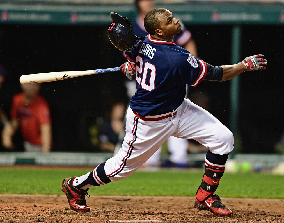 . Cleveland Indians\' Rajai Davis flies out in the fourth inning of a baseball game against the Kansas City Royals, Saturday, June 4, 2016, in Cleveland, Ohio. (AP Photo/David Dermer)