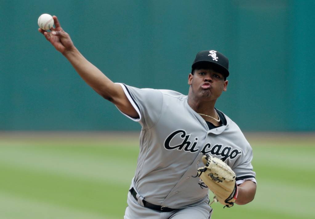 . Chicago White Sox starting pitcher Reynaldo Lopez delivers in the first inning of a baseball game against the Chicago White Sox, Wednesday, May 30, 2018, in Cleveland. (AP Photo/Tony Dejak)