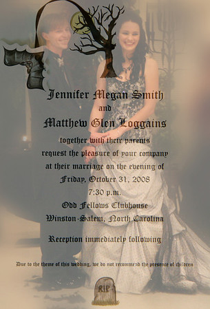 A Hallowedding:  Jennifer Megan Smith and Matthew Glen Loggains, October 31, 2008