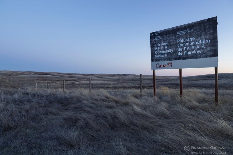Sign for Fairview PFRA community pasture. Near Fiske, Saskatchewan