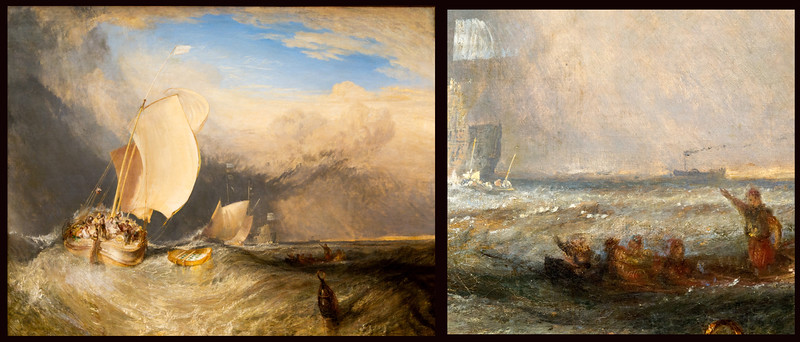 "Left: William Turner's ""Fishing Boats with Hucksters Bargaining for Fish,"" 1837/38.  Right: Inset showing a very early steamship in the distance."