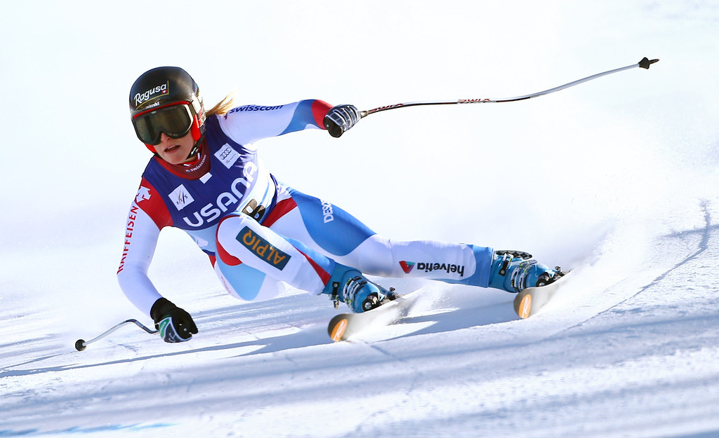 . Switzerland\'s Lara Gut races during the women\'s World Cup super-G skiing event, in Beaver Creek, Colo., Saturday, Nov. 30, 2013. (AP Photo/Allesandro Trovati)