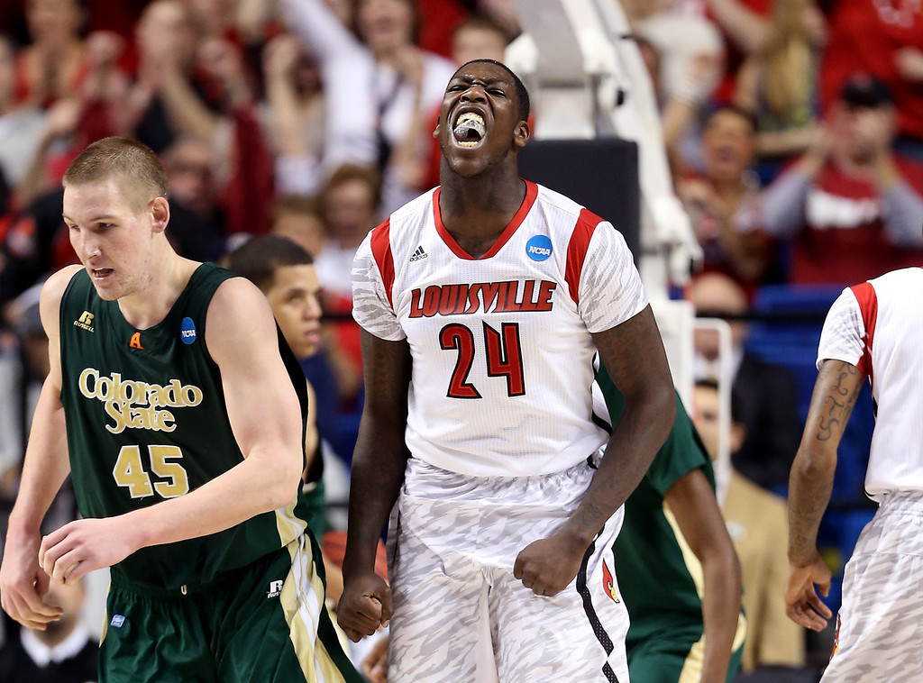 . LEXINGTON, KY - MARCH 23: Montrezl Harrell #24 of the Louisville Cardinals reacts after a play agaisnt the Colorado State Rams in the first half during the third round of the 2013 NCAA Men\'s Basketball Tournament at Rupp Arena on March 23, 2013 in Lexington, Kentucky.  (Photo by Andy Lyons/Getty Images)