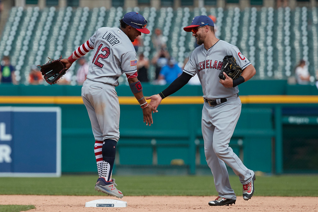 . Cleveland Indians Francisco Lindor, left, Lonnie Chisenhall, right, celebrate after a baseball game against the Detroit Tigers in Detroit, Sunday, July 2, 2017. Cleveland won 11- 8. (AP Photo/Rick Osentoski)