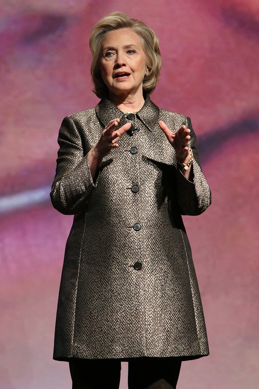 """. Hillary Rodham Clinton participates in the \""""No Celings: The Full Participation Project,\"""" in New York, Monday, March 9, 2015. (Photo by Greg Allen/Invision/AP)"""
