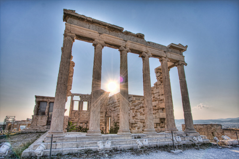 The remains of the Erictheum atop the Acropolis of Athens. (HDR)
