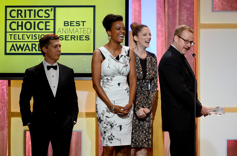 """. Actors Judy Greer, Chris Parnell, Aisha Tyler, and executive producer/writer Matt Thompson accept the Best Animated Series award for \""""Archer\"""" onstage during Broadcast Television Journalists Association\'s third annual Critics\' Choice Television Awards at The Beverly Hilton Hotel on June 10, 2013 in Los Angeles, California.  (Photo by Mark Davis/Getty Images for CCTA)"""
