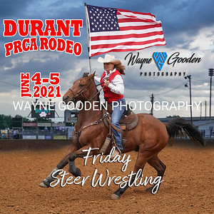 Durant PRCA Rodeo 2021 - Friday Steer Wrestling