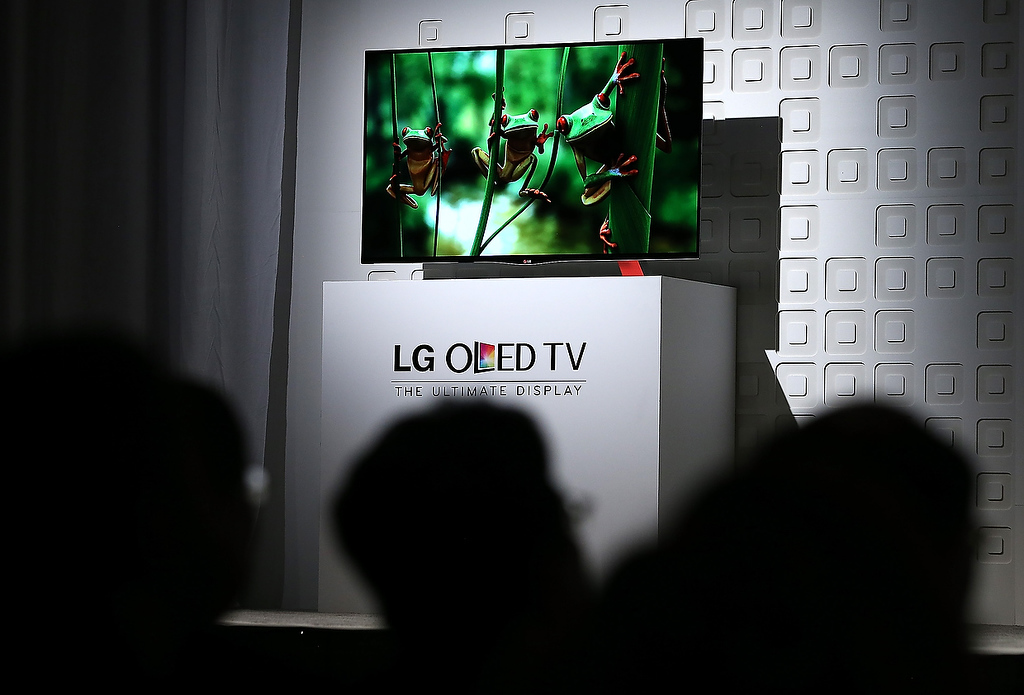 . The new LG OLED TV is displayed during an LG press conference during the 2013 International CES at the Mandalay Bay Convention Center on January 7, 2013 in Las Vegas, Nevada. (Photo by Justin Sullivan/Getty Images)