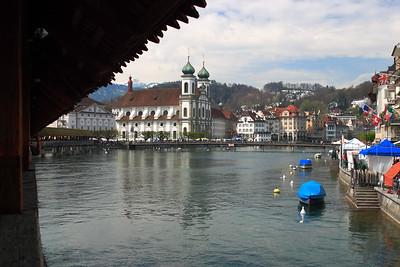 View from the Kapellbrucke (Chapel Bridge) of Lucerne, Switzerland. © 2005 Kenneth R. Sheide