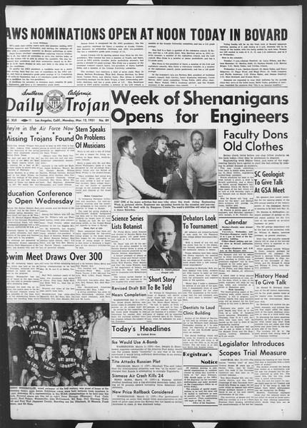 Daily Trojan, Vol. 42, No. 89, March 12, 1951