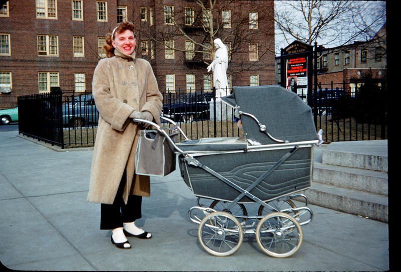 mommy and pram outside church.jpg