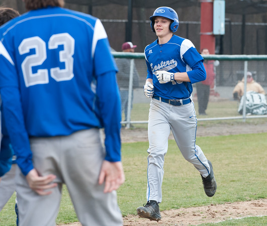 04/11/18 Wesley Bunnell | Staff New Britain baseball was defeated by Bristol Eastern on Wednesday afternoon at Beehive Field. MacGregor Goulet (10) comes home after a solo home run.