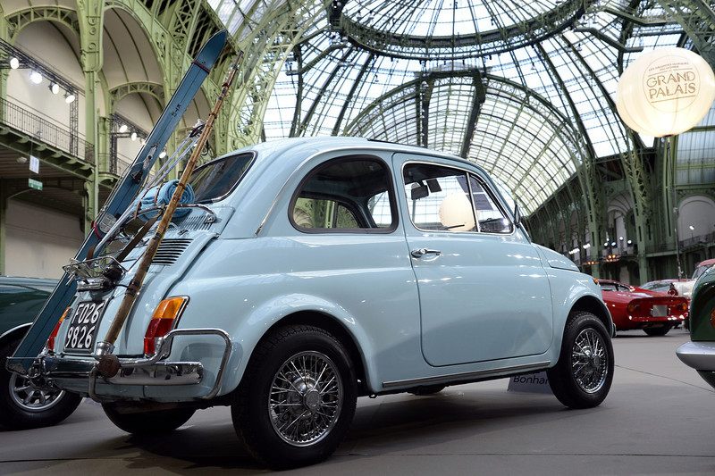 . An Italy\'s Fiat 500L (1972) is pictured as luxury vintages cars are displayed at an auction at the Grand Palais on February 6, 2013 in Paris. 125 vintage motor cars, 100 collection motorbikes and a 1920\'s Gipsy Moth plane by De Havilland, will be presented at the Bonhams auction on February 7.  BERTRAND GUAY/AFP/Getty Images
