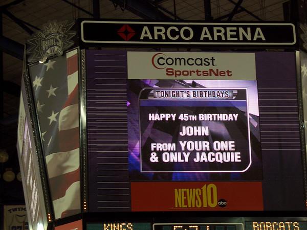 Kings vs. Bobcats, John's birthday, 2007