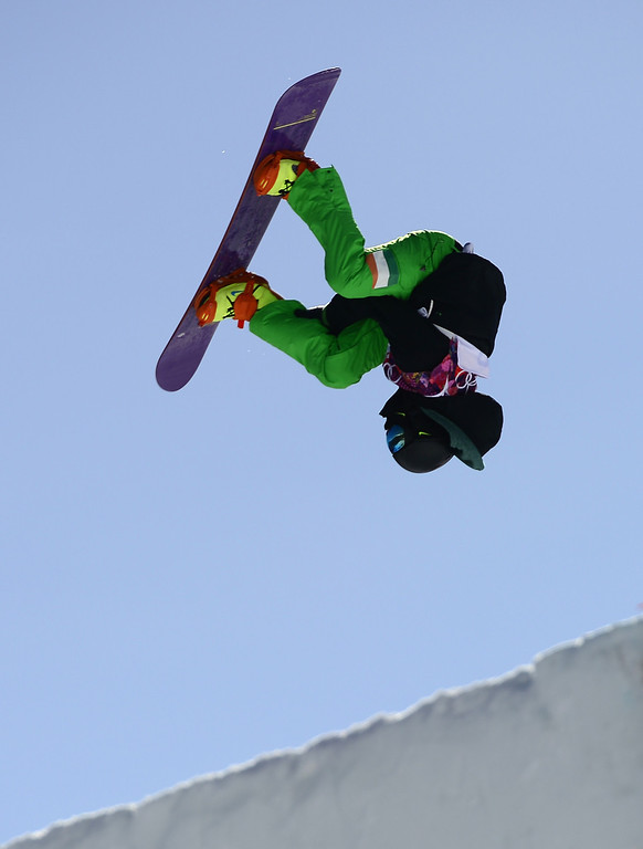 . Ireland\'s Seamus O\'Connor competes in the Men\'s Snowboard Slopestyle second heat qualification at the Rosa Khutor Extreme Park during the Sochi Winter Olympics on February 6, 2014. AFP PHOTO / JAVIER SORIANO/AFP/Getty Images